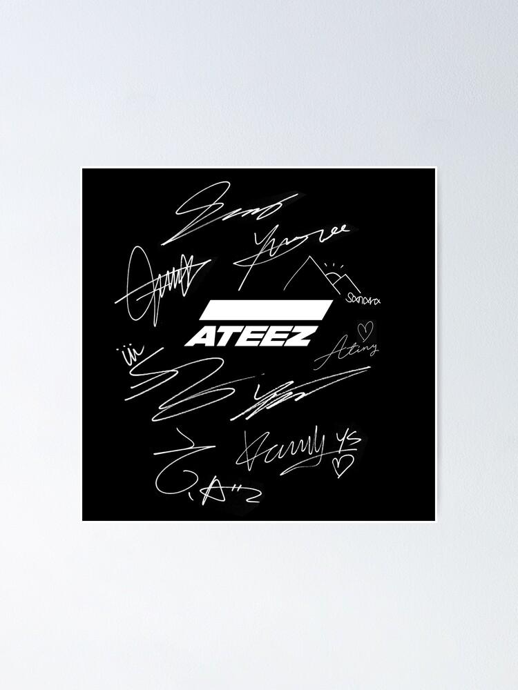 """Ateez - logo + signatures - black"" Poster by joyahatim ..."