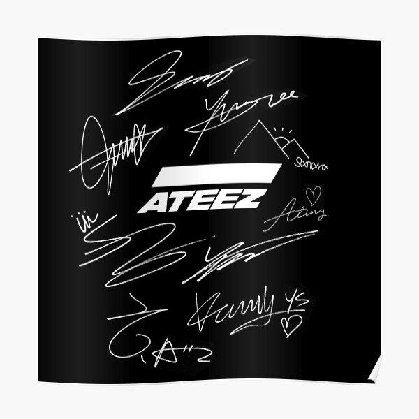 Ateez - logo + signatures - black Poster