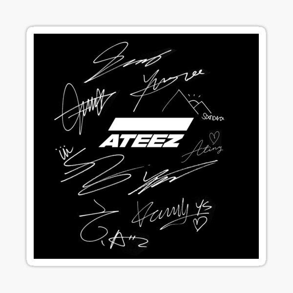 Ateez - logo + signatures - noir Sticker