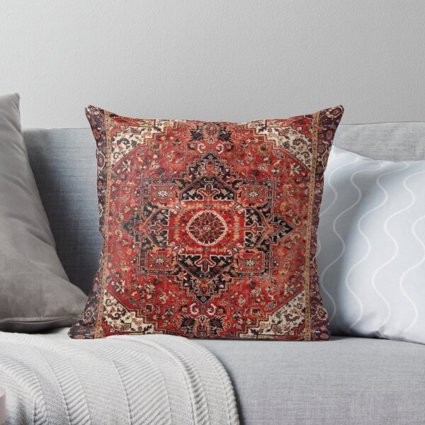 Heriz Antique Vintage Boho Persian Carpet Print Throw Pillow