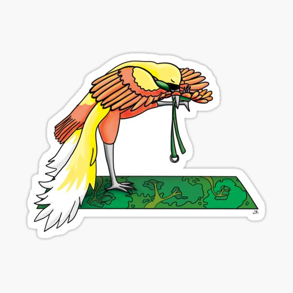 Bird of Paradise in a Yoga Pose Sticker