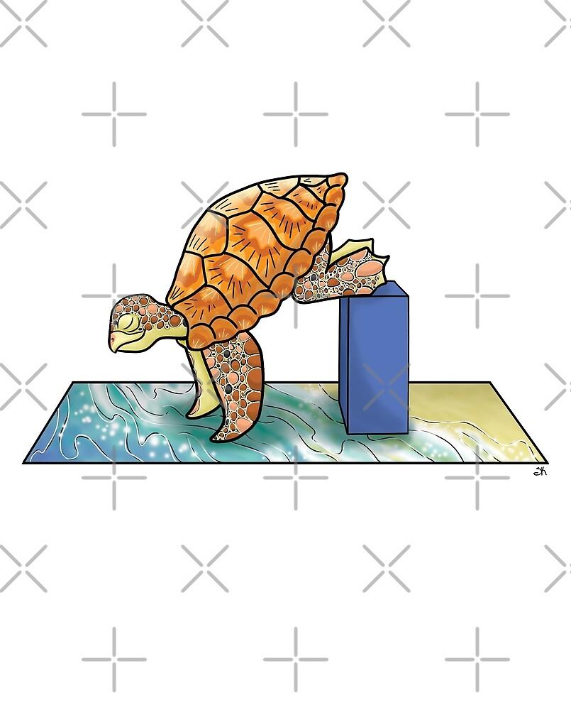 Turtle in Crane Yoga Pose by Sara Kear