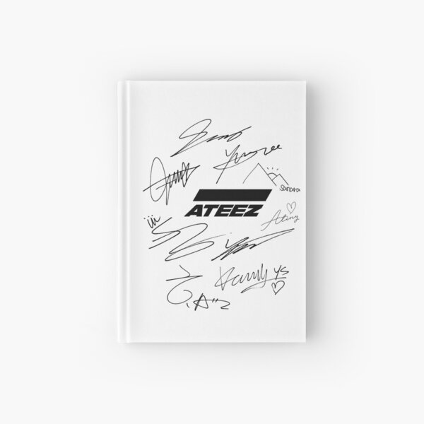 Ateez - logo + signatures - white Hardcover Journal