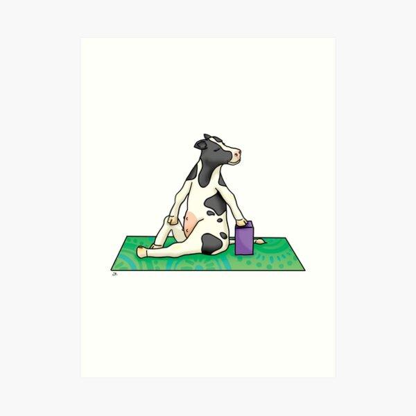 Cow in Twist Yoga Pose Art Print