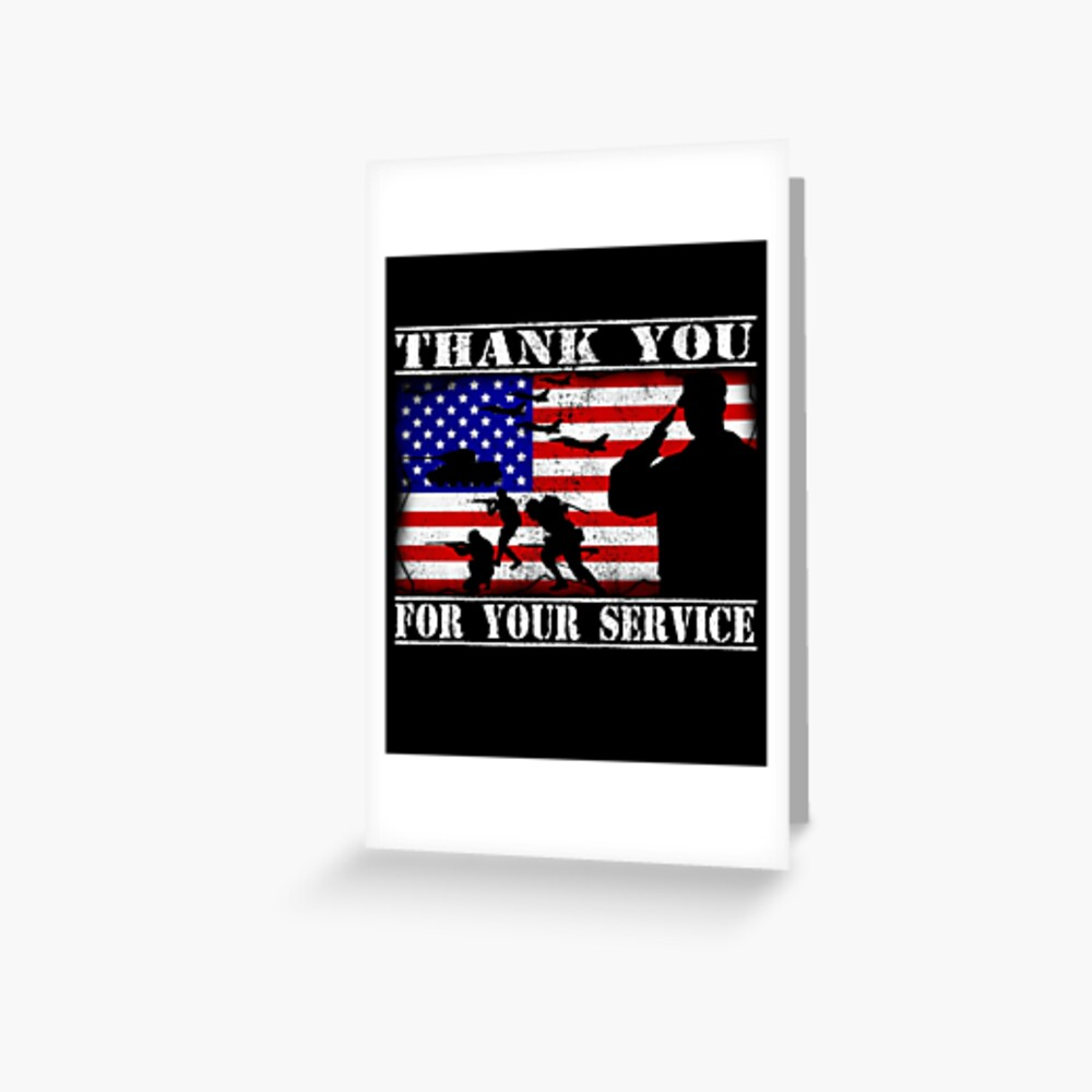 Thank You For Your Service Veterans Day 4th Of July Greeting Card By Bullish Bear Redbubble