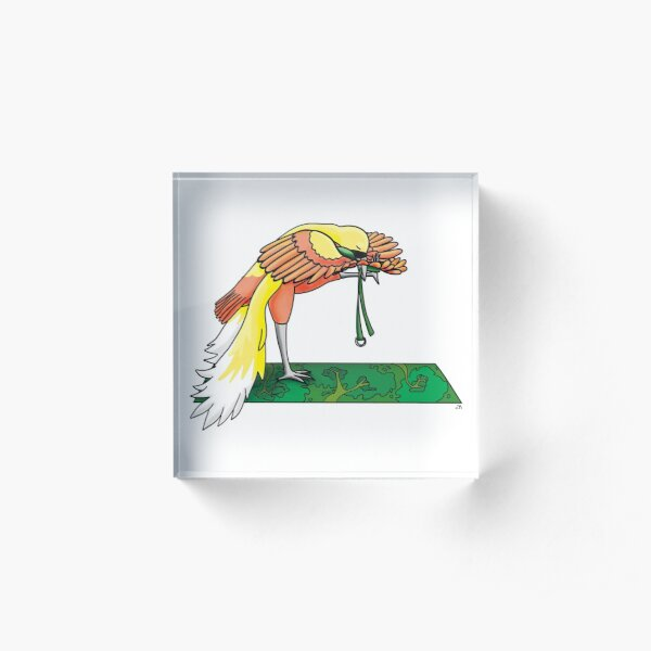 Bird of Paradise in a Yoga Pose Acrylic Block