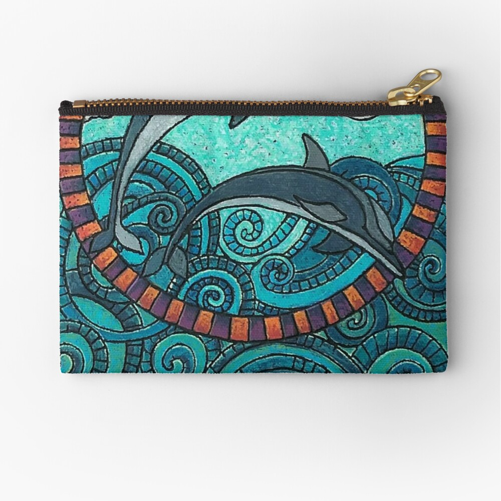 Dolphin Duo by Merideth Young Zipper Pouch