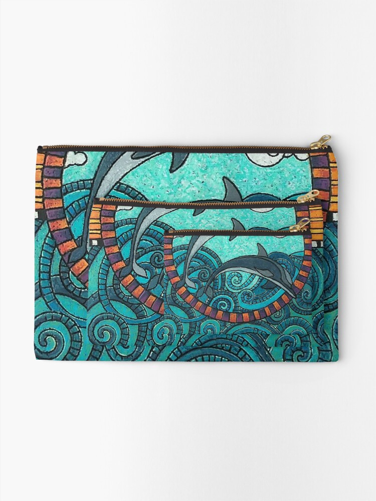 Alternate view of Dolphin Duo by Merideth Young Zipper Pouch