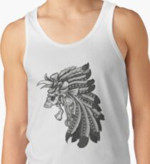 Indian Chief Skull with Headdress Tank Top