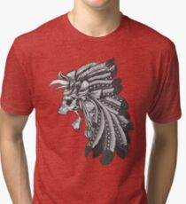 Indian Chief Skull with Headdress Tri-blend T-Shirt