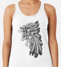 Indian Chief Skull with Headdress Racerback Tank Top