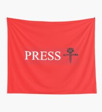 Press Mugs, Posters, Stickers,Totes, Pillows and alternate Cloth Banner (all red) Wall Tapestry