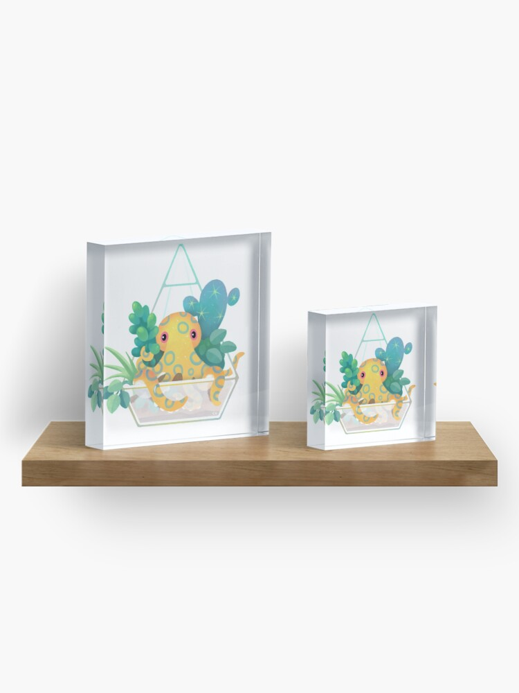 Alternate view of Ocean terrarium - Blue ringed octopus Acrylic Block