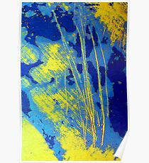 Abstract in Blue and Yellow Poster