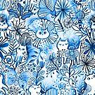 Aquarell Katzen und Blumen von Anna Alekseeva