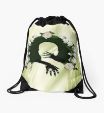 Love is All there is on Green Silk & White Roses Drawstring Bag