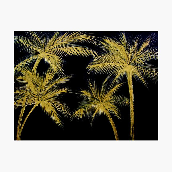 GOLDEN PALM TREE SUNSET TROPICAL BOTANICAL GOLD BLACK BLUE INK Photographic Print