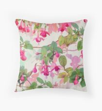Rainbow Fuchsia Floral Pattern Throw Pillow