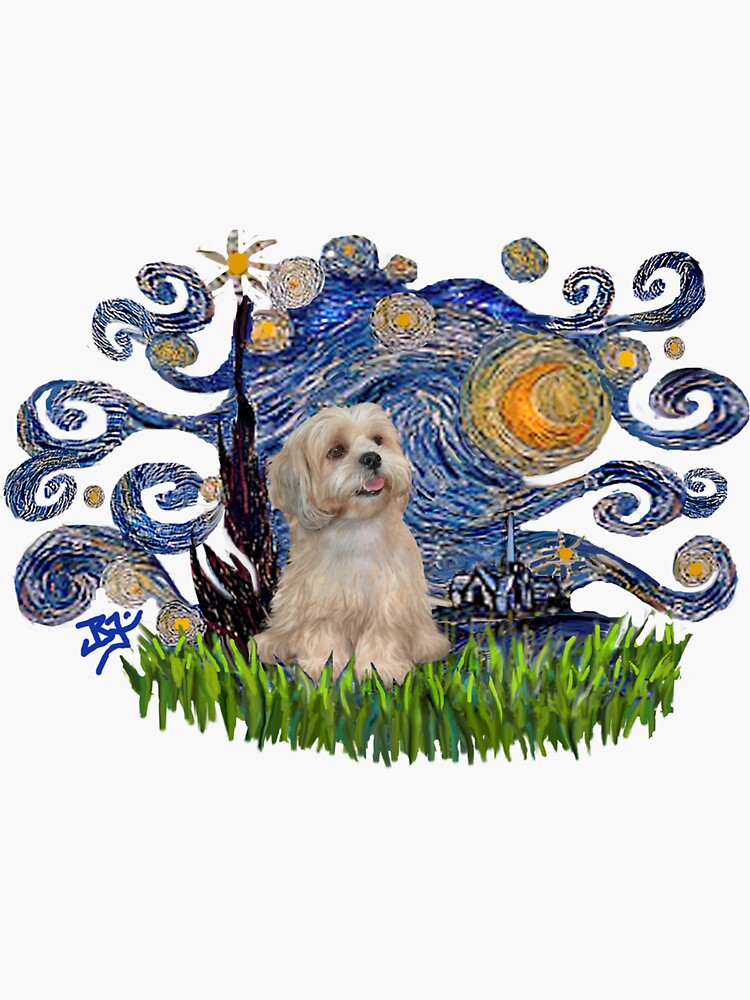 Starry Night Free Form with a Lhasa Apso (R2) by JeanBFitzgerald