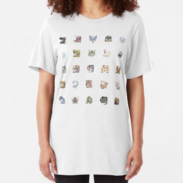 Monster Hunter World Tiled Icons Slim Fit T-Shirt