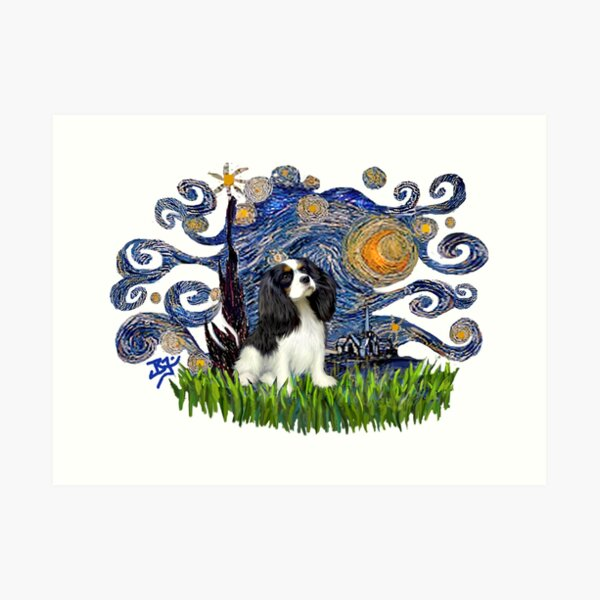 Starry Night Free Form with a Cavalier King Charles Spaniel (tri colored) Art Print