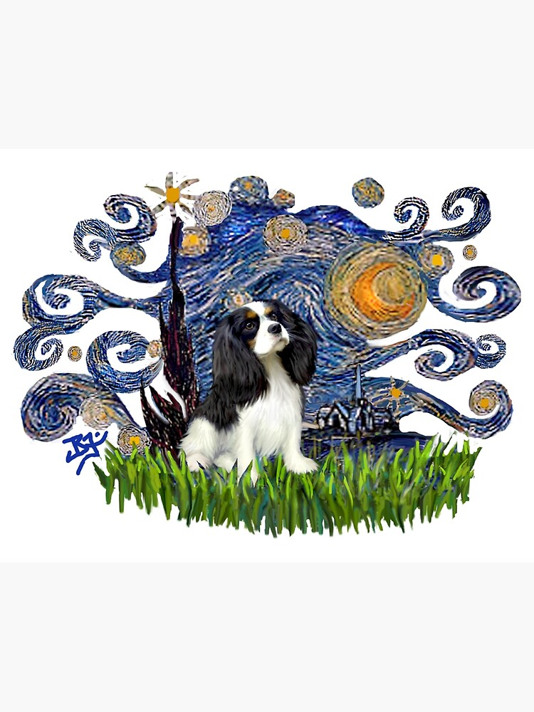 Starry Night Free Form with a Cavalier King Charles Spaniel (tri colored) by JeanBFitzgerald