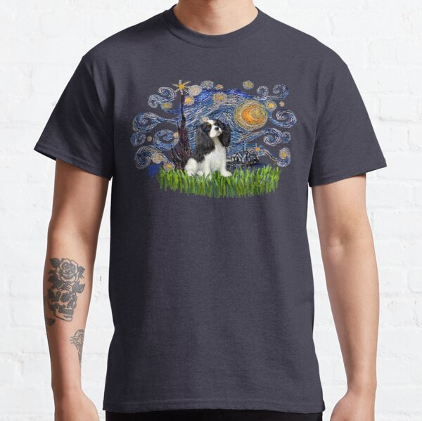 Starry Night Free Form with a Cavalier King Charles Spaniel (tri colored) Classic T-Shirt