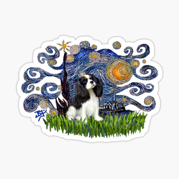 Starry Night Free Form with a Cavalier King Charles Spaniel (tri colored) Sticker