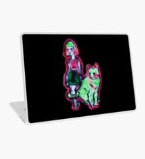 Space Cat and Neon Friend Laptop Skin