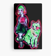 Space Cat and Neon Friend Metal Print
