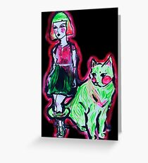 Space Cat and Neon Friend Greeting Card
