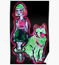 Space Cat and Neon Friend Poster