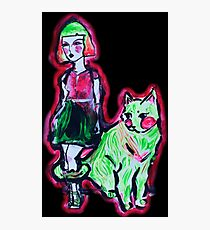 Space Cat and Neon Friend Photographic Print