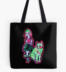 Space Cat and Neon Friend Tote Bag
