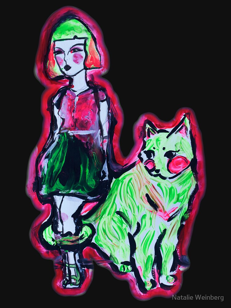 Space Cat and Neon Friend by natalieweinberg