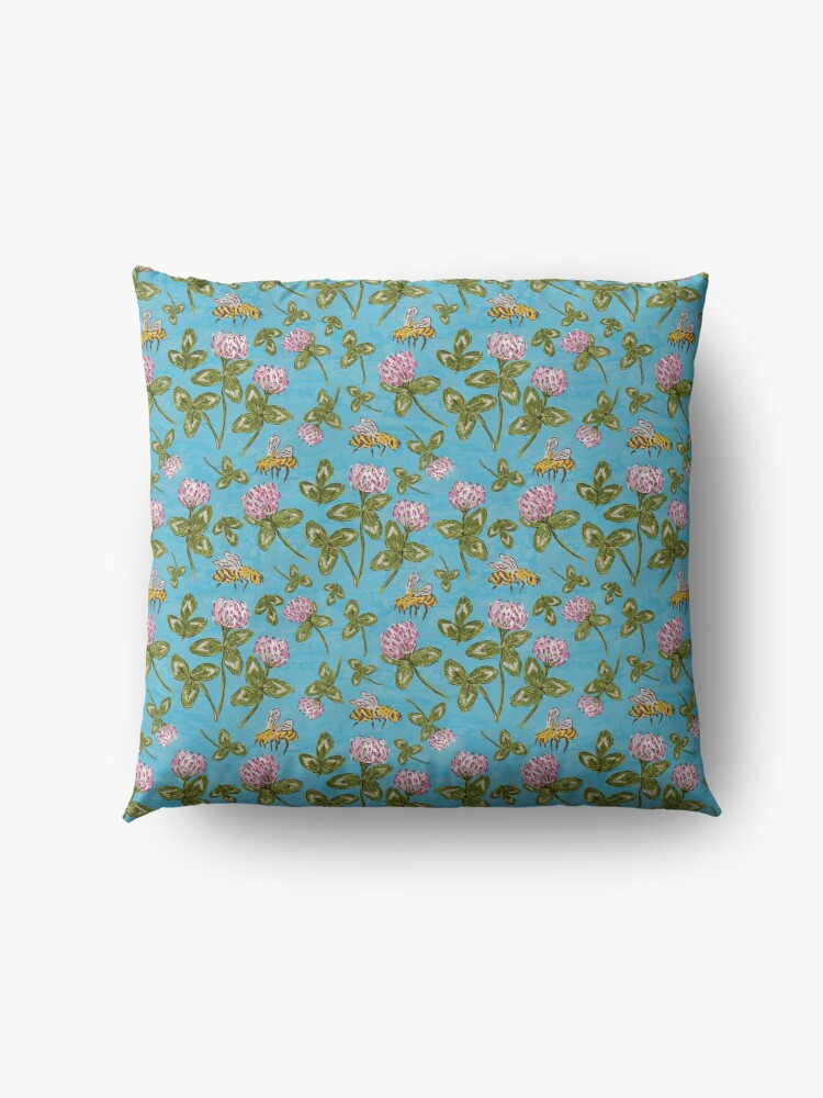 Alternate view of Keep the clover and save the bees Floor Pillow