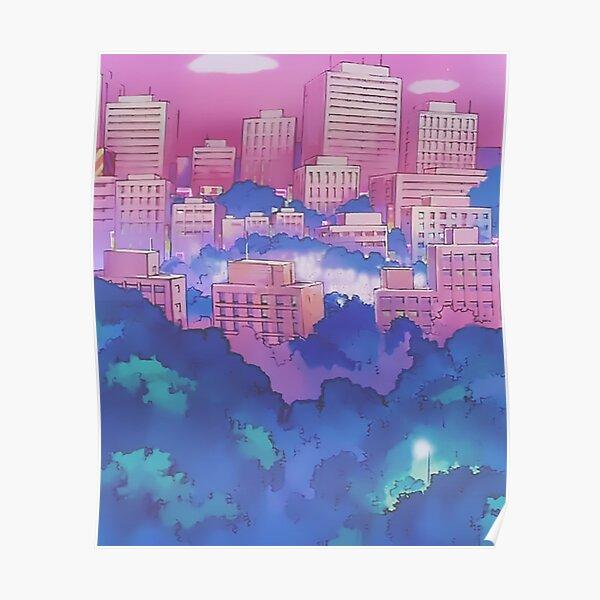Sailor Moon Pink City Dream Landscape  Poster