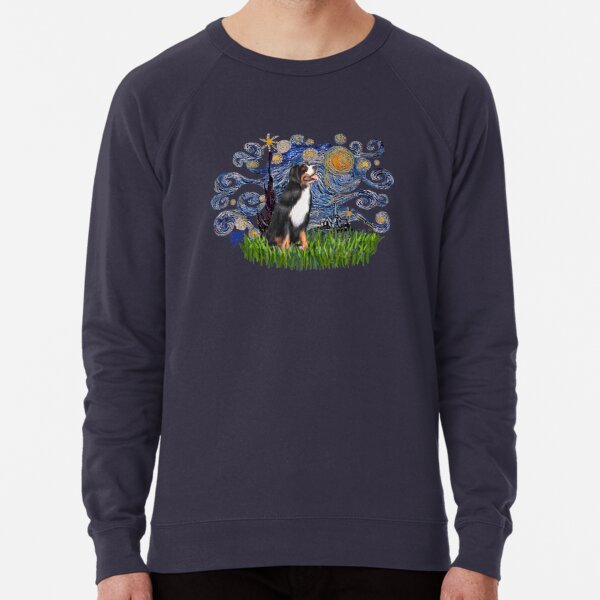Starry Night Free Form & Bernese Mountain Dog Lightweight Sweatshirt