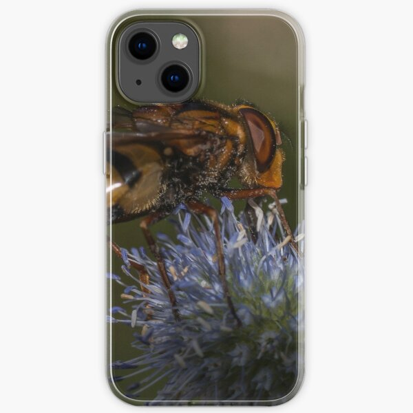 Queen Hoverfly on Thistle  iPhone Soft Case