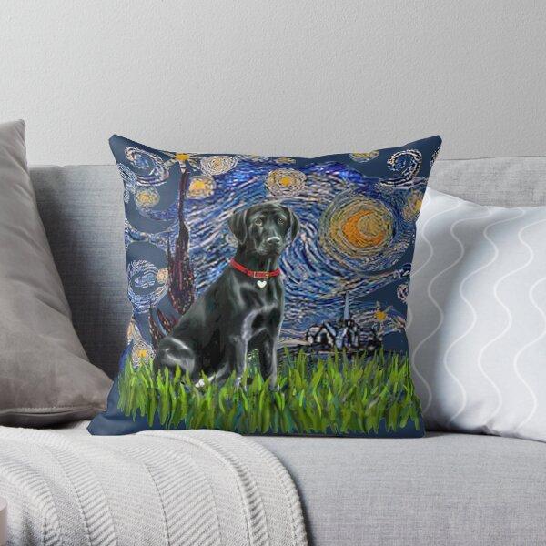 Starry Night - Black Labrador Retriever  Throw Pillow