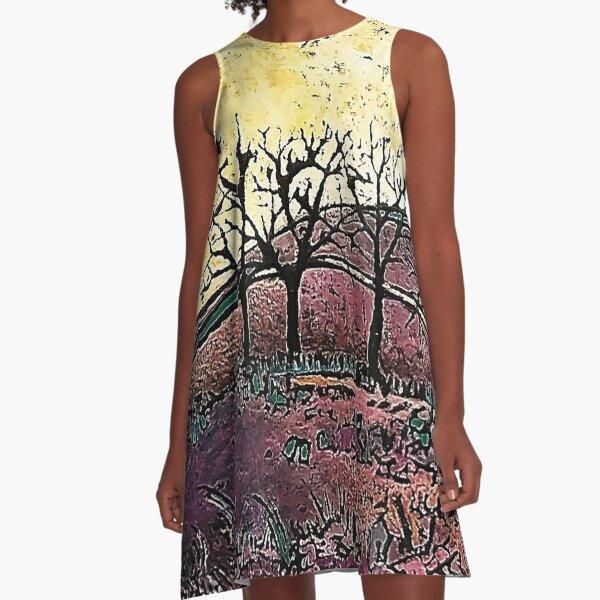 Plum Mountains A-Line Dress