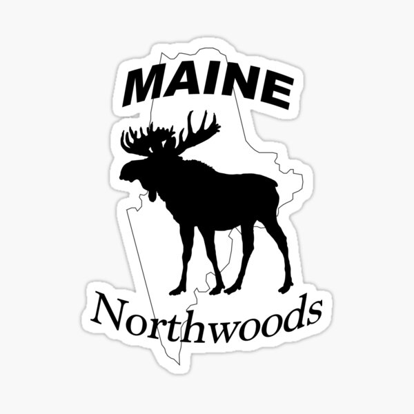 Maine Northwoods Moose Design Sticker