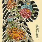 Chrysanthemum Chest Half Sleeve Flash by johnreardontat2