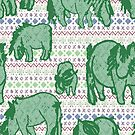 Fairisle Shetland Ponies - Green by Juliewdesigns