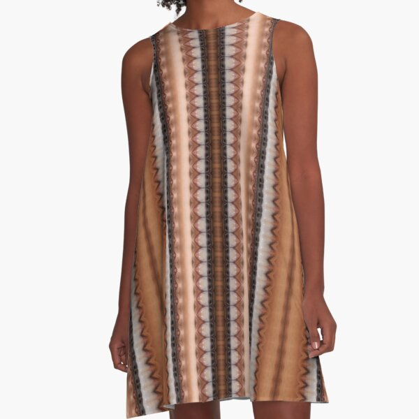 #pattern, #design, #abstract, #textile, decoration, steel, repetition, rusty, retro style A-Line Dress