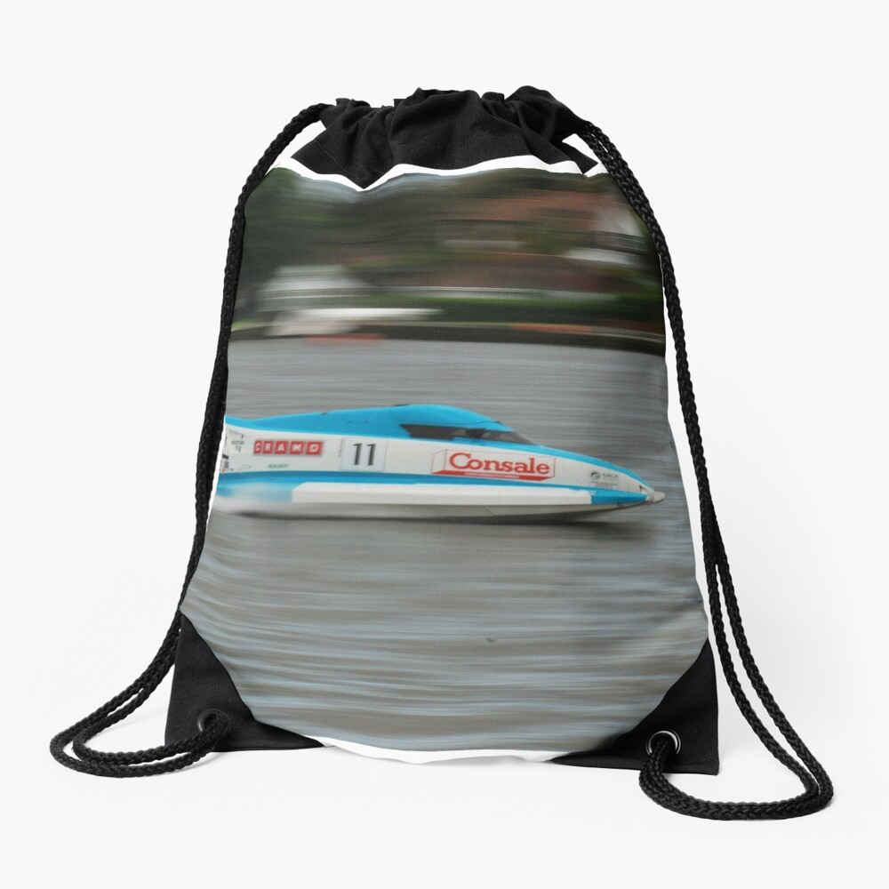Powerboat Racing at Oulton Broad - Scott Curtis - Formula Grand Prix Drawstring Bag