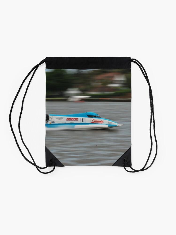 Alternate view of Powerboat Racing at Oulton Broad - Scott Curtis - Formula Grand Prix Drawstring Bag