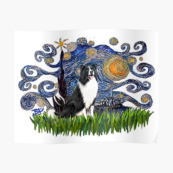 Starry Night Free Form with a Border Collie (#1) Poster