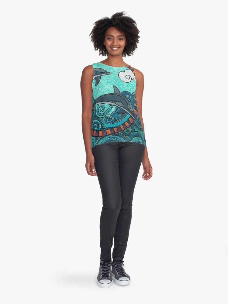 Alternate view of Dolphin Duo by Merideth Young Sleeveless Top