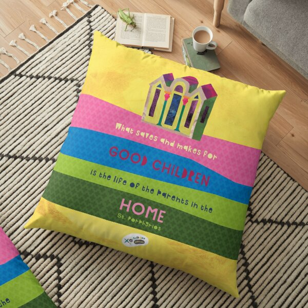 St. Porphyrios quote Floor Pillow